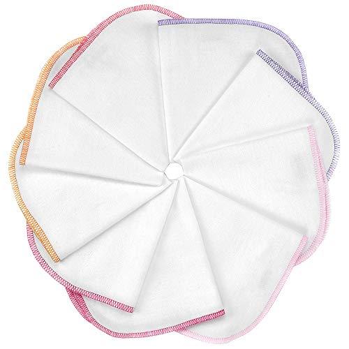 Makian Molton Baby Waschlappen Set mit Schlaufe, 30x30 cm - 9 Stück Moltontücher aus 100% Baumwolle, schadstoffgeprüft nach Öko-Tex Standard 100 - Weiß mit buntem Rand (Rosa Pink)