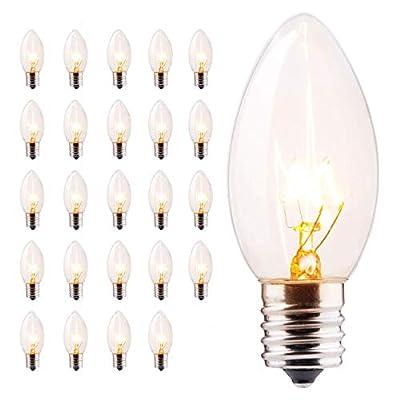 Minetom 50 Pack C9 Clear Replacement Bulbs for Christmas Lights, E17 C9 Intermediate Base Incandescent C9 Christmas Light Bulbs, 7-Watt