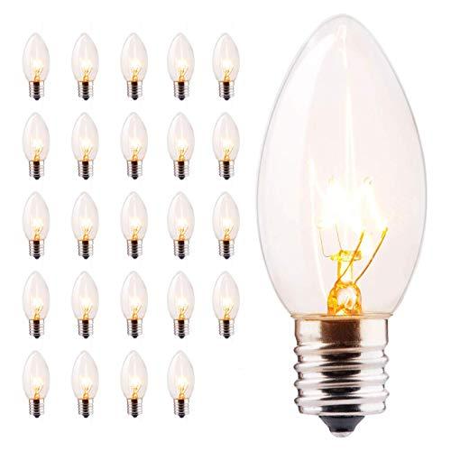25 Pack C9 Clear Replacement Bulbs for Christmas Lights, E17 C9 Intermediate Base Incandescent C9 Christmas Light Bulbs, 7-Watt, Warm White