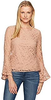 Adrianna Papell Womens AD1S300321 Long Bell Sleeve Lace Blouse Long Sleeve Blouse - Pink