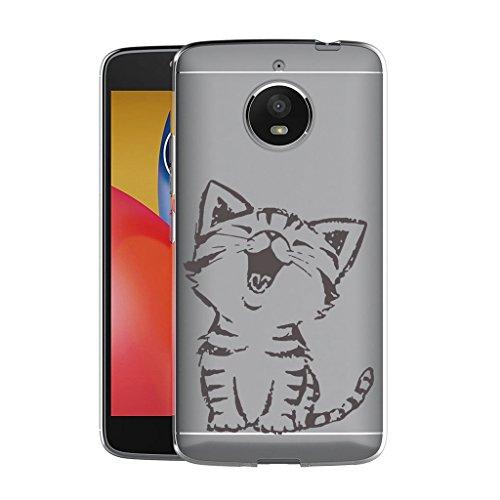 """WenJie Custodia Cover per Moto G5S (5.2"""" Gattino Sveglio Trasparente Silicone Sottile Back Case Molle di TPU Trasparente per Motorola Moto G5S (5.2"""")"""