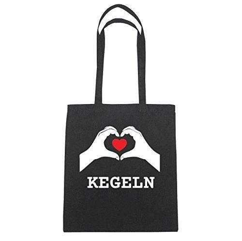 JOllify KEGELN Baumwolltasche Tasche Beutel B6241black - Farbe: schwarz: Hände Herz