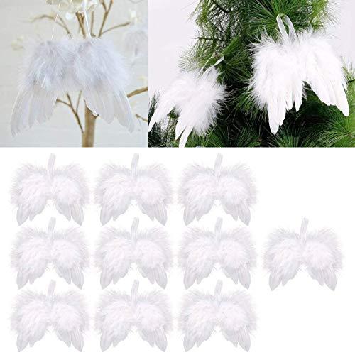 SHOP ICEXPLORE 10 St. Engelsflügel Federn Engel Flügel Anhänger Weihnachtsbaum Deko Christbaumschmuck Vintage Feder zum Aufhängen