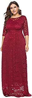 Funien Women Plus Size Lace Maxi Dress 3/4 Sleeve Pocket Slim Elegant Party Long Dress White/Black/Burgundy
