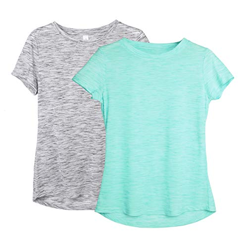 icyzone Damen 2-Pack Kurzarm Shirt Atmungsaktiv Oberteile Fitness Gym Top Casual T-Shirt (L, Grey/Ice Green)