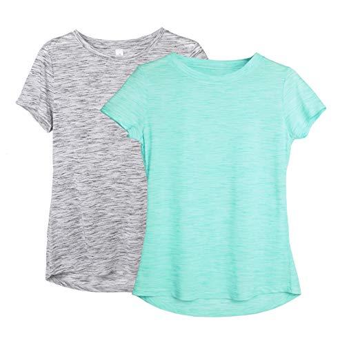 icyzone Damen 2-Pack Kurzarm Shirt Atmungsaktiv Oberteile Fitness Gym Top Casual T-Shirt (M, Grey/Ice Green)