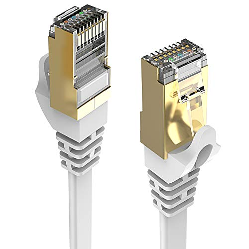 Cable Ethernet Cat 8 de 100 pies, color blanco, plano, 40 Gbps, blindado de alta velocidad, cable LAN RJ45