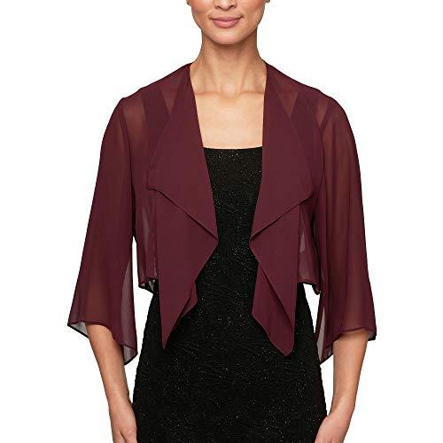 Alex Evenings Women's Short Bolero Shrug Jacket, Fig, M