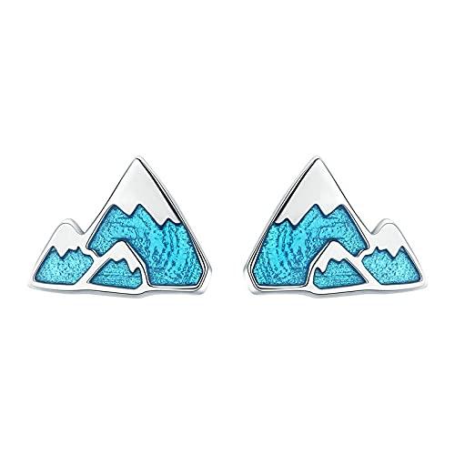 Pendientes De Botón De Moda De Plata De Ley 925, Pendientes De Botón De Esmalte Azul Pequeño Iceberg Único Único Para Mujer, Regalo De Joyería De Plata Esterlina