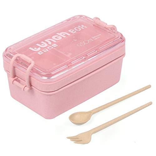 O-Kinee Lunch Bento Box, Fambrera Infantil Paja de Trigo loncheras BPA Gratis, Lonchera a Prueba de Fugas para el Trabajo, Escuela, Viajes (Rosado)