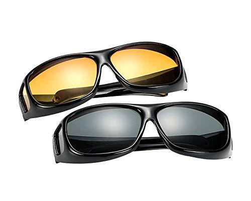 BOZEVON Überzieh-Sonnenbrille für Herren und Damen - Nachtsichtbrille | Sonnenbrille UV400 Fit-over für Brillenträger 2er-Set, 2 Stück Sonnenbrille