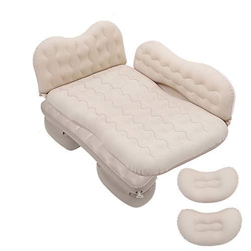 Doppio letto gonfiabile per auto, materasso ad aria impermeabile per materasso del sedile posteriore con schienale, testina anticollisione, 2 cuscini e pompa ad aria per i viaggi all'aperto,Bianca
