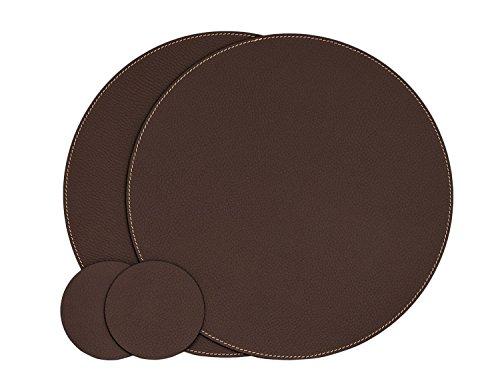 Nikalaz Lot de 2 Set de Table Rond et 2 Desous de Verres, Set de Table 33 cm de Diamètre et sous-bock 10 cm, Cuir Naturel Recyclé (Marron)