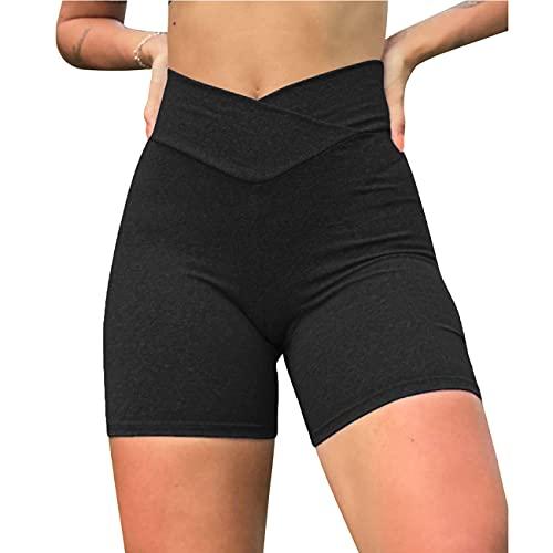 Women s High Waist Shorts Yoga Pants Cross Waist Short Scrunch Workout Gym Shorts Running Leggings Butt Lifting Hot Pants (Black,S)