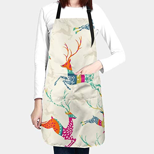 Yunshm Merry Christmas Reindeer Seamless Waterproof Kitchen Aprons Cooking Bib Apron with Pockets Adjustable for Men Women for Baking BBQ Personalized