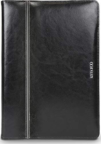 Maroo MR-MS3850 Premium Leather Folio with Silver Accent for Surface Pro 6/5/4/3- Black