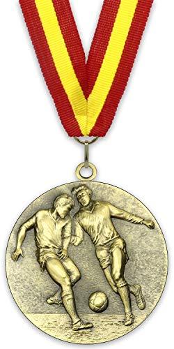 Emblemarket Medalla de Metal Personalizable - Fútbol Masculino - Color Oro - 6,4cm - Cinta Incluida - Colores de Cinta - Rojo-Amarillo-Rojo