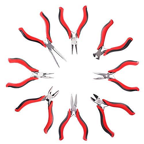 AllRight 8tlg Zangenwerkzeugen Mini Zange Set Schmuck Modellbau Zange Drahtschneider, Flachzange, Rundzange und mehr
