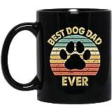 N\A Tazza da caffè Vintage Best Dog Dad Cool Father 's Day Gift Retro Dad Black Mug 190502