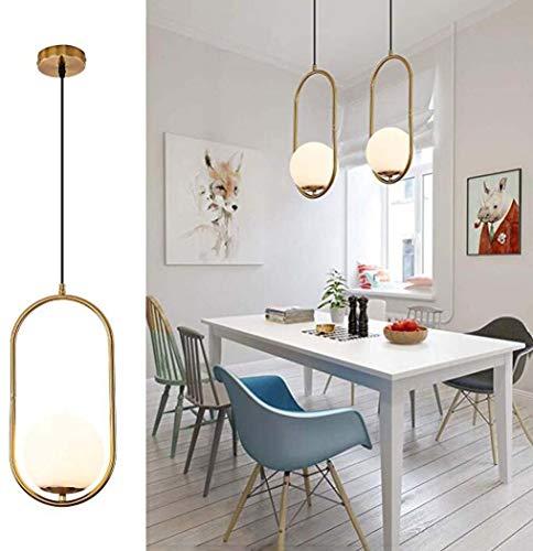 Moderne 1-Licht Kroonluchters Verlichting, Glas Globe Lampenkap Hanglamp Indoor Hanglamp Fixture Verstelbare Hangende armatuur voor Dineren Kamer Slaapkamer