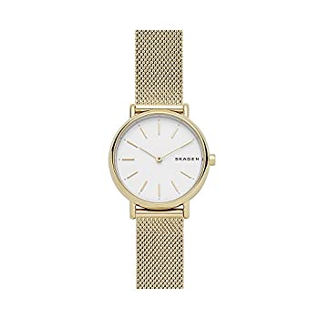 Skagen Women s Signatur Quartz Analog Stainless Steel and Stainless Steel Mesh Watch Color  Gold / White  Model  SKW2693