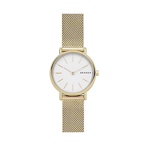Skagen Women's Signatur Quartz Analog Stainless Steel and Stainless Steel Mesh Watch, Color: Gold / White (Model: SKW2693)