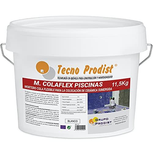 M-COLAFLEX PISCINAS de Tecno Prodist (11,5 Kg) Adhesivo cementoso mejorado flexible ideal para la colocación de baldosas en contacto permanente con agua como piscinas, depósitos agua, etc (Blanco)