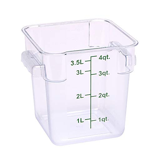 Restaurantware RWT0835 Met Lux 4 qt Square Clear Plastic Food Storage Container-with Green Volume Markers-7' x 7' x 7 1/4'-10 Count Box