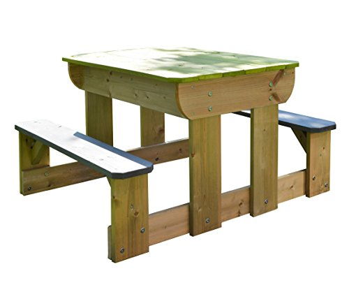 Wendi Toys Table de Pique-Nique Sable et Eau avec bancs/Couvercle Amovible et Bols en Plastique/Table de Jeu en Bois pour Enfants pour activités de Plein air