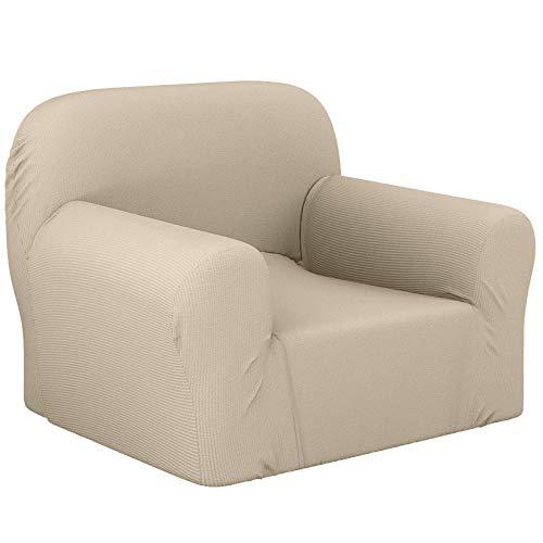 Dreamzie - Fundas Sofa Elasticas 1 Plaza - 60% Algodón Reciclado - Certificada Oeko-Tex sin Productos Químicos - Fabricada en España - Crema