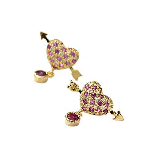 ZhongYi Lady Sterling zilveren vergulde echte goud een pijl piercing hart oorbellen