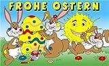 FRIP Hasen mit Ei und Sonne Ostern Fahne Flagge 1,50x0,90m