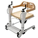 PAYRFV Patient Lift Wheelchair for Home, Portable Patient Transport Lift with 180° Split Seat, Shower Chair Toilet Chair with Bedpan, Heavy Duty Patient Lifter for Adults, Disabled, Seniors & Elderly
