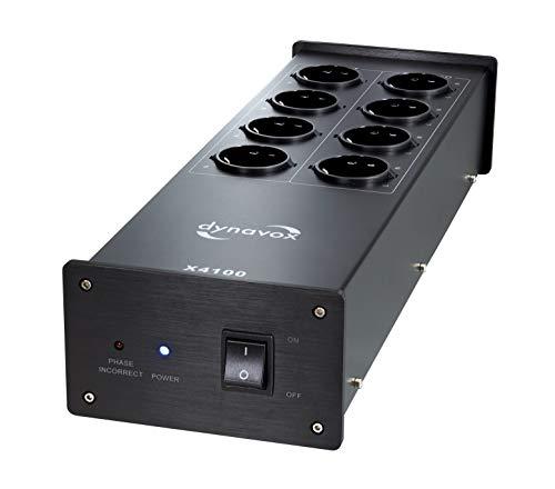 Dynavox HiFi-Netzfilter X4100B, Mehrfach-Steckdose mit 8 Steckplätzen, mit LED-Kontrollleuchte für korrekte Phasenlage, Schwarz