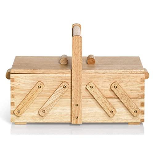 Dulcicasa Costurero plegable de madera clara, cesta de costura sin contenido, 36 x 19 x 22 cm