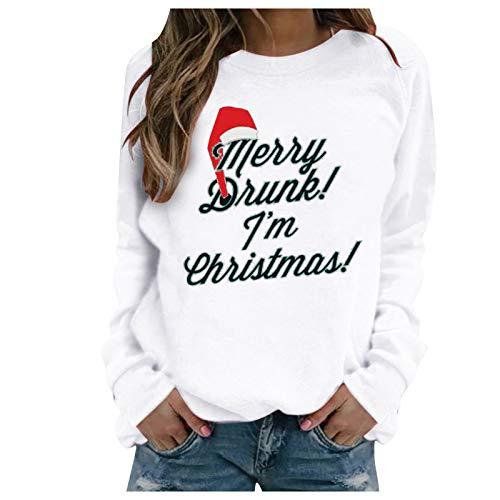 Mxstnk Damen Weihnachten & Silvester - Pullover Sweater Sweatshirt Damen Hoodie und Kapuzenpullover für Frauen(Weiß,XL)