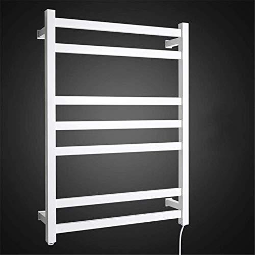 Home Equipment Rieles de toalla con calefacción Calentador de toallas Tubo cuadrado de acero inoxidable montado en la pared Rejilla de secado recta de 7 barras Lavabo Decoración del hogar Baño Duch