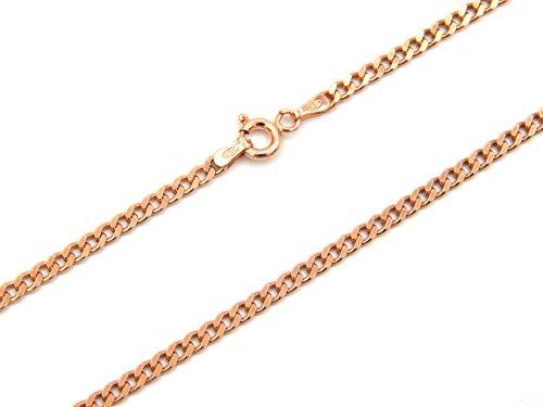 Panzerkette 925 Sterling Silber rose vergoldet 3mm breit Länge wählbar 45-50 cm Silberkette Rosegold Halskette Kette rosé Damen (50)