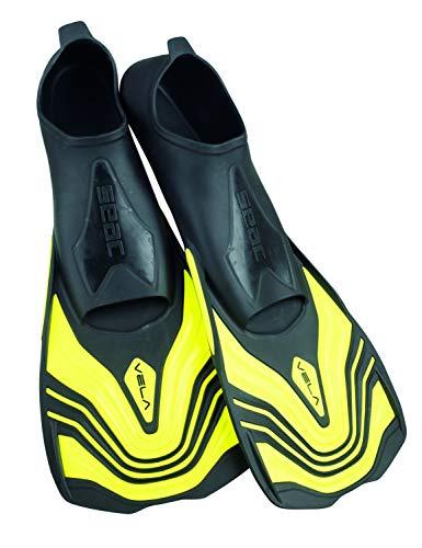 SEAC Vela Aletas Cortas para Entrenamiento de natación en la Piscina y Snorkeling, Adultos Unisex, Amarillo, 42/43