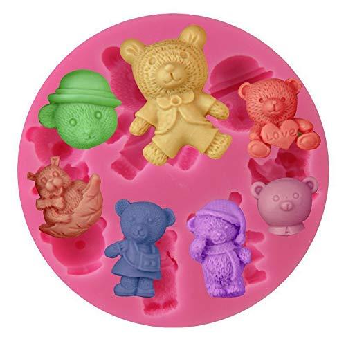 7 Teddy Bear Baby-Spielzeug, Silikon-3D Chocolate Soap-Kuchen, Fondant Cupcake, Wachs, Gelee-Herstellung von Schimmel, Brot, Mousse, Gips -, Harz-Gießform