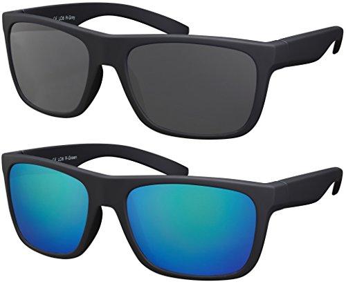 La Optica B.L.M. Herren Sonnenbrille UV400 Männer Sportbrille Fahrradbrille - Doppelpack Set Rubber Schwarz (Gläser: 1 x Grau, 1 x Grün Verspiegelt)