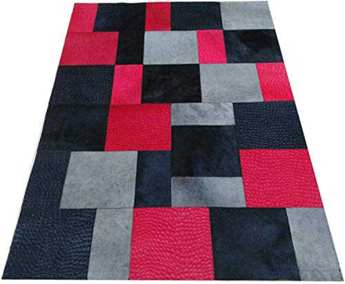 Zerimar Patchwork Kuhfell Teppich | Maßnahmen: 120x180 cm | Teppich Schlafzimmer | Teppich Schlafzimmer Vintage | Kuh Teppich Echt