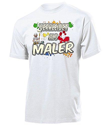 Maler 5005 Karneval Fasching Kostüm Herren Männer Paar Gruppen Outfit Klamotten Oberteil Malerkostüm T-Shirt Faschings Karnevals Motto Party Weiss S