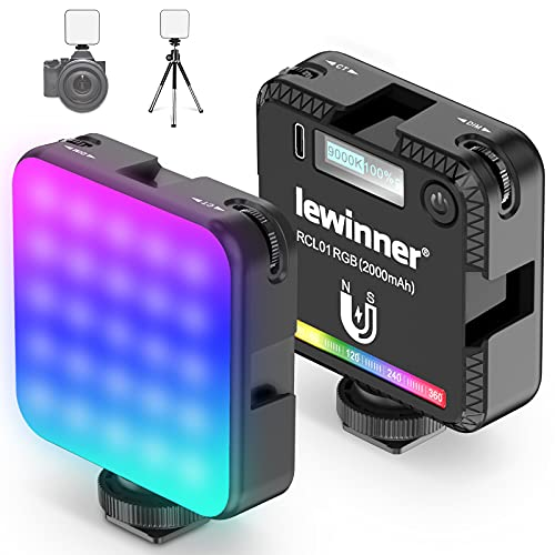 Lewinner RCL01 RGB Video Light, LED Camera Light - 20 Scene Effect for Tiktok YouTube Vlog, 360°Full Color, 2500-9000K Dimmable Photography Light w 3 Cold Shoe, Magnetic Attraction Design, w Tripod