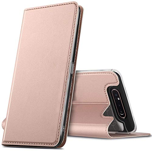 Verco Handyhülle für Samsung A80, Premium Handy Flip Cover für Samsung Galaxy A80 Hülle [integr. Magnet] Book Hülle PU Leder Tasche, Rosegold