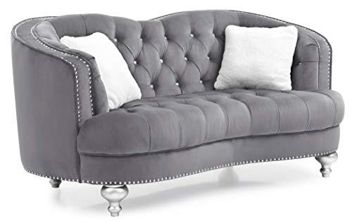 "Glory Furniture Jewel Loveseat, Gray. Living Room Furniture, 35"" H x 71"" W x 37"" D"