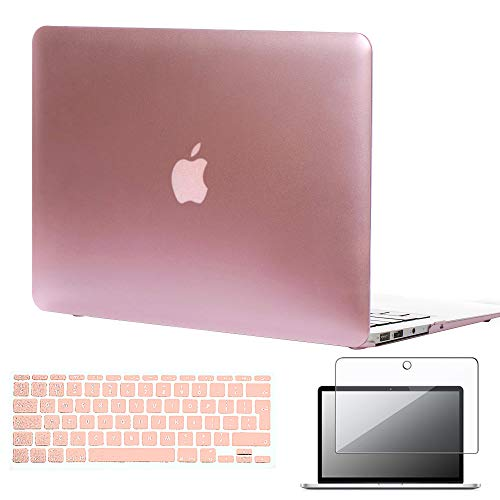 "FINDING CASE Bundle 3 In 1 Rubberized Matte Hard Shell Case for MacBook Air 11 inch A1370 / A1465 ,11.6"" Case + UK/EU layout Silicone Keyboard Cover + Screen Protector (Rose gold)"