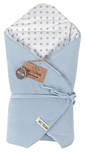 SweetDreams Baby Einschlagdecke, Schlafsack, Wickeldecke für Neugeborene und Kleinkinder, Baumwolle 0-12 Monate, super weich, 75 x 75 cm (1024) (Blau/Dots)