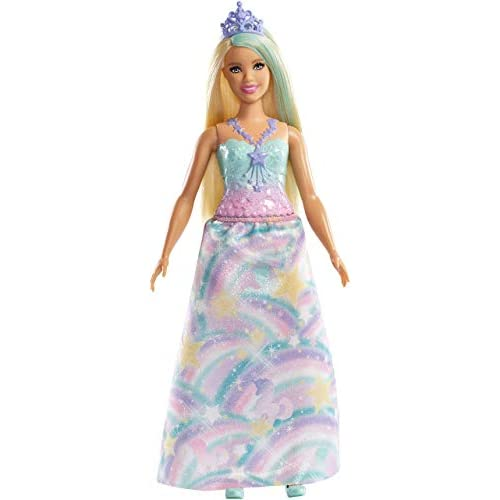 Barbie Dreamtopia Bambola Principessa Bionda con Abito Blu e Tiara, FXT14