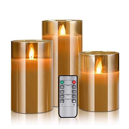 """YINUO LIGHT Flameless Candles, Real Wax Glass Shell Flickering Moving Flame Faux Wickless Pillar Candles Battery Operated with Remote and Timer, 4"""" 5"""" 6 """" Set of 3"""